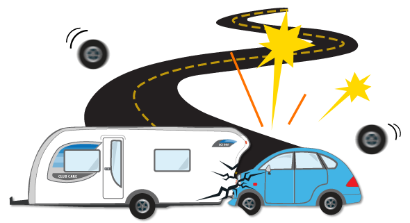 caravan car accident image, caravan accident, damaged caravan